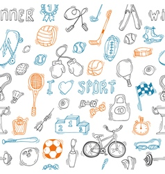 Seamless pattern with hand drawn sport equipment vector image