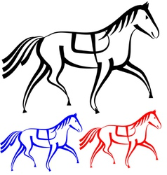 Set horses outlines collection vector