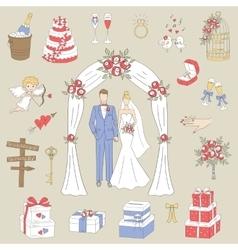 Set of hand drawn wedding icons vector