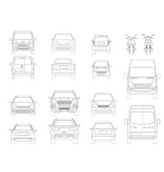 set of outline icons cars view of the side vector image vector image