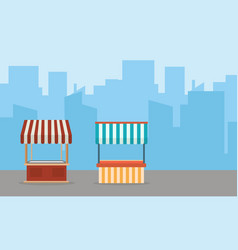 Street shop with building background landscape vector