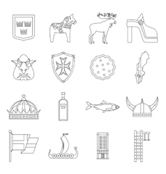 Sweden travel icons set outline style vector