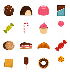 Sweets and candies icons set in flat style vector