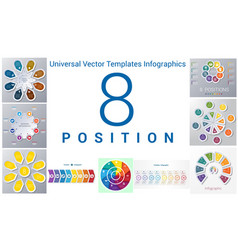 universal templates set infographics 8 positions vector image