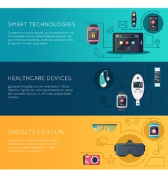 Wearable Technology Gadgets Flat Banners Set vector image vector image