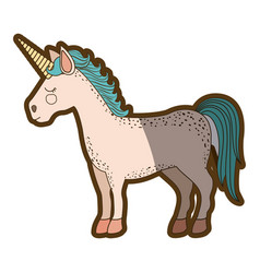 White background with cartoon unicorn standing vector