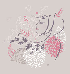 Women profile flowers back vector