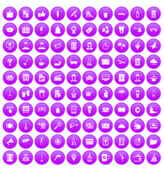 100 hotel services icons set purple vector