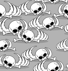 Remains of skeleton seamless pattern skull and vector