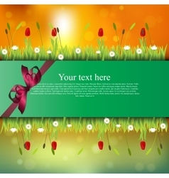 Banner with grass and flowers vector