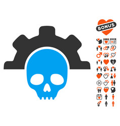 Dead tools icon with love bonus vector