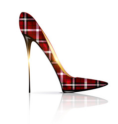 White and plaid shoe vector