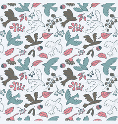 Seamless pattern with cute cartoon birds vector