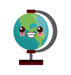 Kawaii school globe map earth education element vector