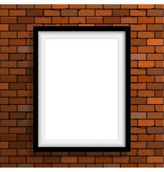 Empty frame on brown brick wall vector image