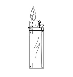 Lighter with flame sketch vector