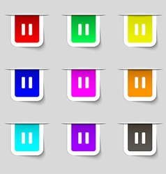 Pause icon sign set of multicolored modern labels vector