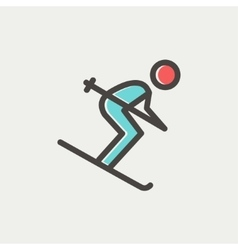 Downhill skiing thin line icon vector