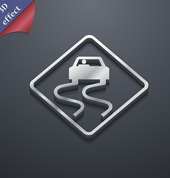 Road slippery icon symbol 3d style trendy modern vector