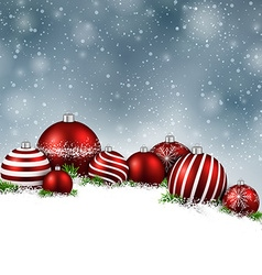 Winter background with christmas balls vector