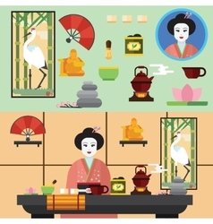 Tea ceremony and all the symbols of it vector