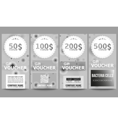 Set of modern gift voucher templates molecular vector
