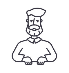 beard man line icon sign on vector image