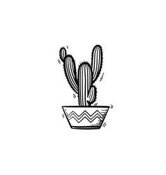 cactus in a pot hand drawn sketch icon vector image