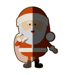 Color silhouette of santa claus with gift bag and vector