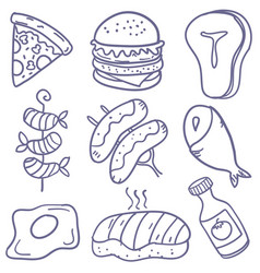 Doodle of food various art vector