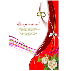 Greeting wedding card with roses bunch vector