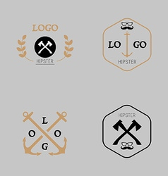 Hipster logotype with axe mustache anchor vector image