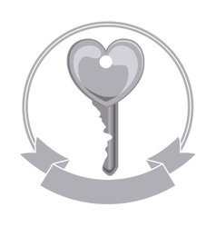 Isolated heart and key of love concept vector image