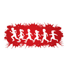 little boy and girl running group of children run vector image vector image