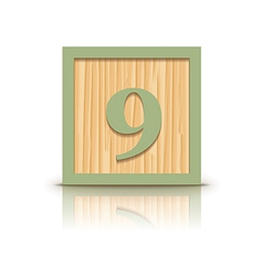 Number 9 wooden alphabet block vector