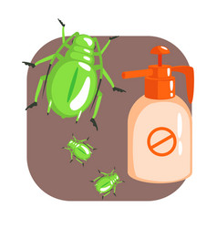 Orange sprayer bottle of green longhorn beetle vector