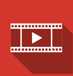 play video icon isolated with long shadow vector image