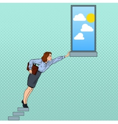 Pop art businesswoman hard trying to reach goal vector