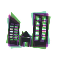Real estate sign colorful icon shaked vector