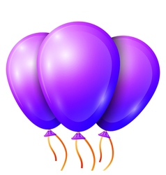 Realistic purple balloons with ribbon isolated on vector image