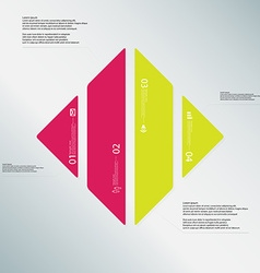 Rhombus template consists of four color parts on vector