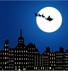 Santa claus in a sleigh under night city vector