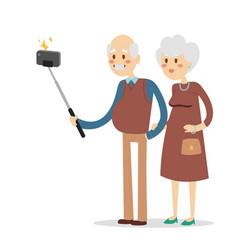Selfie grandpa grandma isolated vector