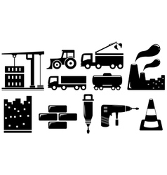 Set industrial objects and tools vector