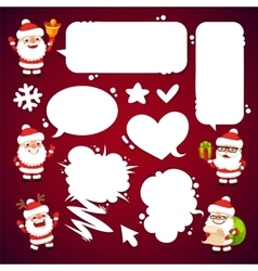 Set of Cartoon Santa Clauses with a Speech Bubbles vector image vector image