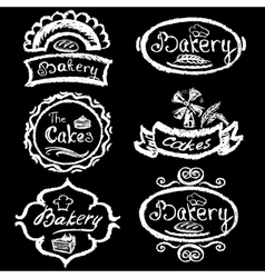 Set of vintage hand drawing chalk style bakery vector image vector image