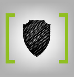 Shield sign black scribble vector