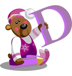 Smile bear with alphabet letter D in color 01 vector image