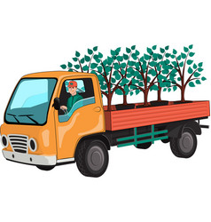 Truck with tree seedlings vector