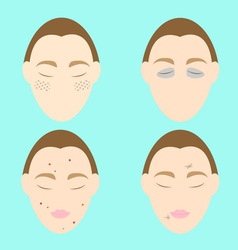 Woman face problems on blue background vector
